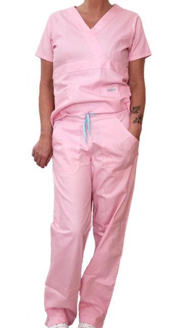Conjunto Scrub Anatomys Feminino ROSA Claro Camisa com ajuste para acinturar Atrás e Cordão Azul Claro para Calça Tecido 100% Algodão