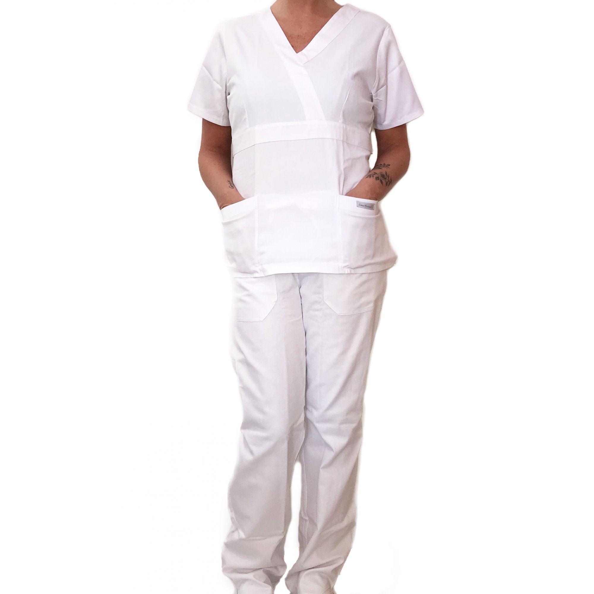 Conjunto Scrub Anatomys Feminino BRANCO  Camisa com ajuste para acinturar atrás e calça Com Elástico CINZA  e Cordão BRANCO 100% Algodão