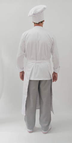 Conjunto SENAC Dólmã Gourmet ML Botões Pressão 100% algodão branca Bordado Nome + Logo + avental 4 Frentes branco 100% algodão + Calça com elástico total pied poule + chapéu chef branco