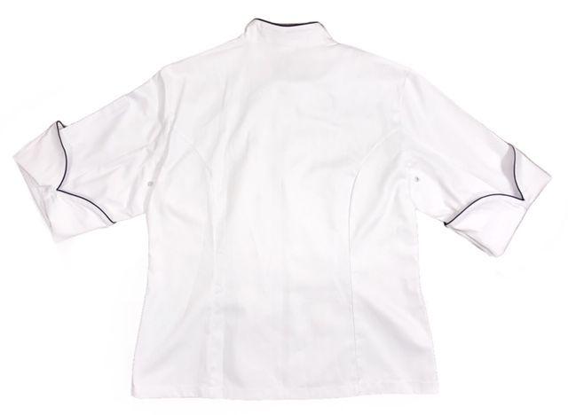 Conjunto SENAC Dólmã Cecilia Feminina Acinturado BRANCA ML Botões pressão 100% Algodão Bordada Nome e Logo  + Avental 4 Frentes Branco + Calça Pied Poule + Chapéu Chef Branco