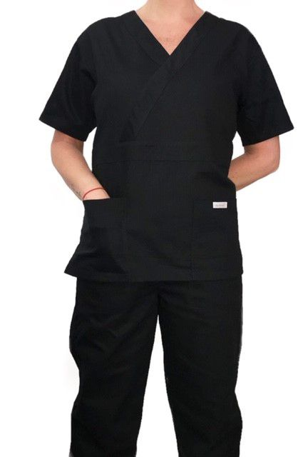 Conjunto Pijama Cirurgico SCRUB MASCULINO  Camisa PRETA e Calça PRETA com Cordão Microfibra  100% Poliéster