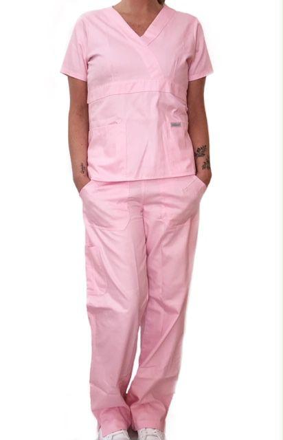 Conjunto Scrub Anatomys Feminino Rosa Claro Camisa com ajuste para acinturar Atras e Cordão Rosa  para Calça Tecido 100% Poliéster
