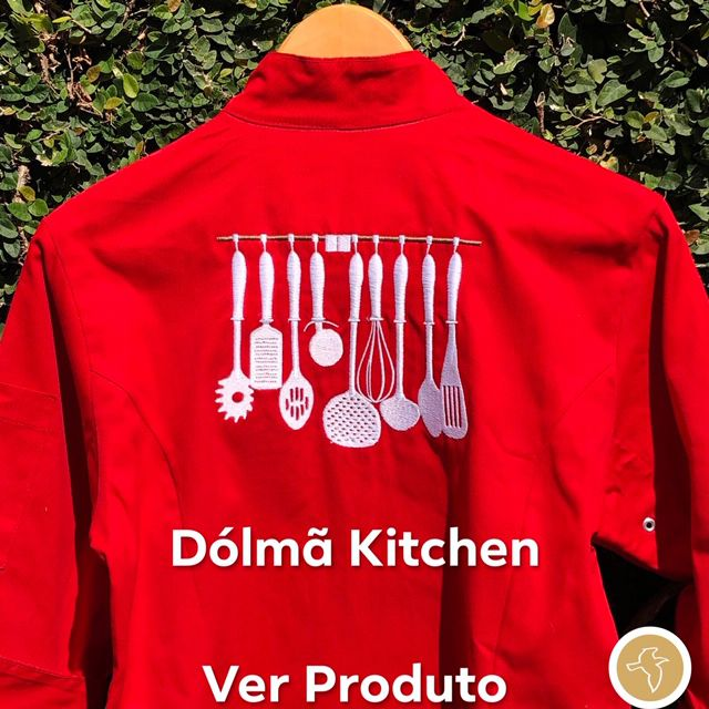 Dólmã Cecília Feminino Acinturado Vermelho KITCHEN BRANCO  com vivo e botões BRANCOS Sarja Leve 100% algodão