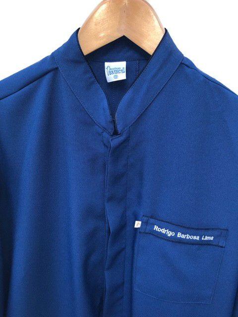 Jaleco Gola Padre AZUL ROYAL personalizado padrão UFSC MESTRADO/DOUTORADO/PÓS (logomarca na manga , símbolo Odonto na manga e nome na lapela em preto), com punho de CAMISA