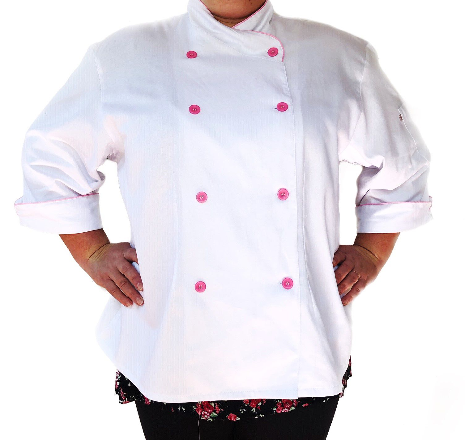 Dólmã Cecilia Feminina PLUS SIZE BRANCA com VIVO ROSA  Sarja Leve 100% algodão  com  botões ROSA