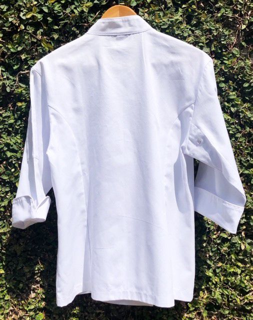 Dólmã Cecília Feminino Acinturado Branca Botões GREY HEART Sarja Leve 100% algodão
