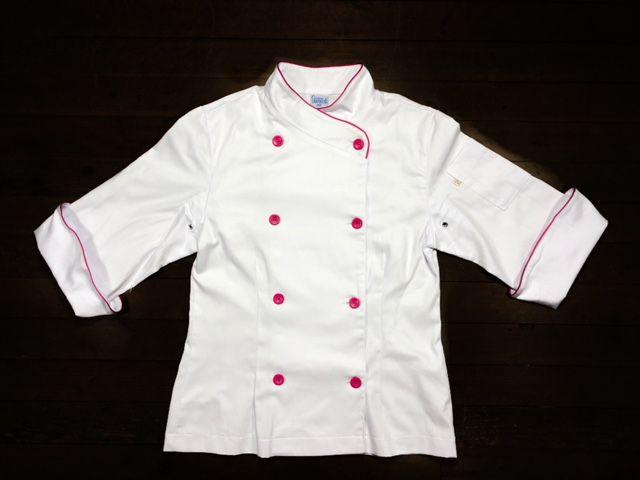Dólmã Cecília Feminino Acinturado BRANCA Sarja Leve 100% algodão  com vivo e botões PINK