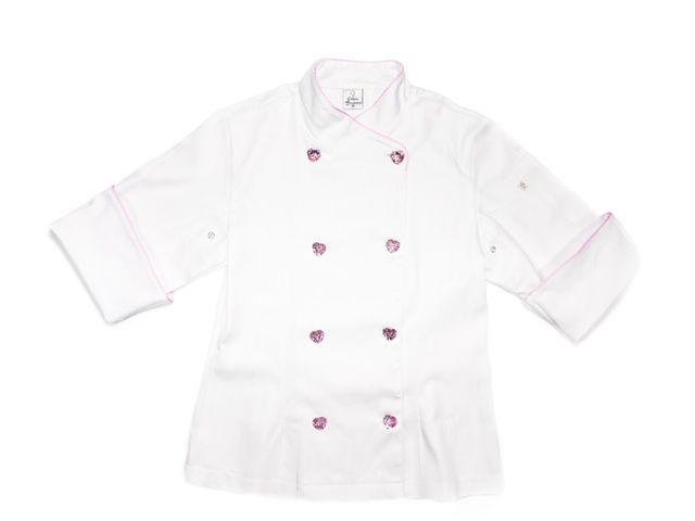 Dólmã Cecília Feminino Acinturado BRANCO BRIGADEIRO com vivo ROSA e botões PINK HEART Sarja Leve 100% algodão