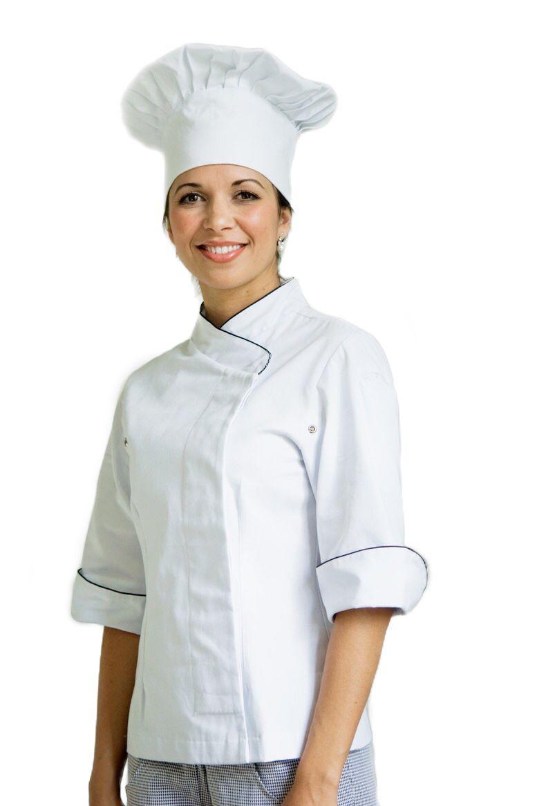 Dólmã Cecília Feminino Acinturado BRANCO com vivo Azul e botões de pressão 100% algodão Manga 3/4