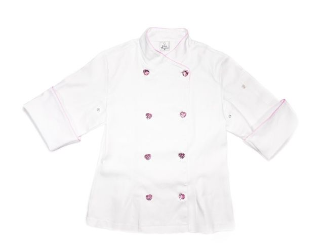Dólmã Cecília Feminino Acinturado BRANCO com vivo ROSA e botões PINK HEART Sarja Leve 100% algodão