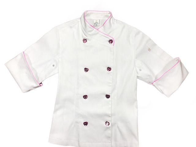 Dólmã Cecília Feminino Acinturado BRANCO JOGO DE FACAS CAVEIRA ROSA com vivo ROSA e botões PINK HEART Sarja Leve 100% algodão