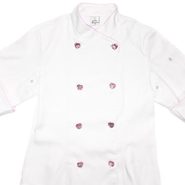 Dólmã Cecília Feminino Acinturado BRANCO BATEDEIRA PINK com vivo ROSA e botões PINK HEART 100% algodão