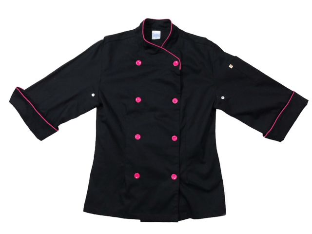 Dólmã Cecília Feminino Acinturado PRETA POWER GIRL com detalhe PINK Sarja Leve 100% algodão com botões PINK