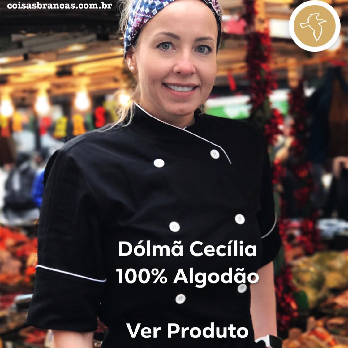 Dólmã Cecilia Feminino Acinturado PRETA SKULL HAT BRANCO e CINZA com vivo e botões BRANCOS 100% algodão manga 3/4