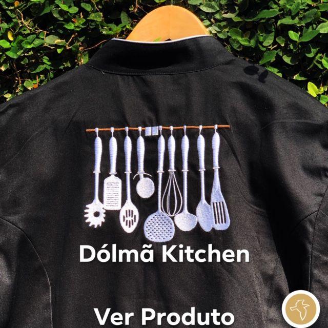 Dólmã Cecília Feminino Acinturado PRETO KITCHEN BRANCO  com vivo e botões PRETOS  Sarja Leve 100% algodão Manga 3/4
