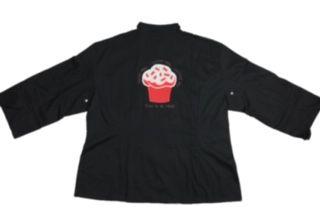 Dólmã Cecília Feminino Acinturado PRETO RED VELVET CUPCAKE GLUTEN FREE com vivo e botões pretos Sarja Leve 100% algodão Manga 3/4