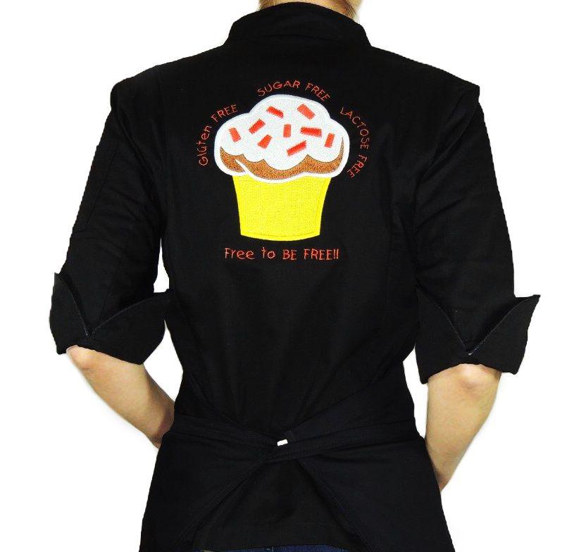 Dólmã Cecília Feminino Acinturado PRETO Yelow CUPCAKE GLUTEN FREE com vivo e botões pretos Sarja Leve 100% algodão Manga 3/4