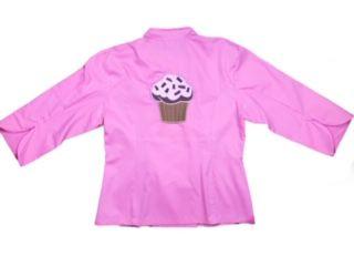 Dólmã Cecília Feminino Acinturado ROSA BROWN PINK CUPCAKE com vivo PINK e botões GREY HEART Sarja Leve 100% algodão