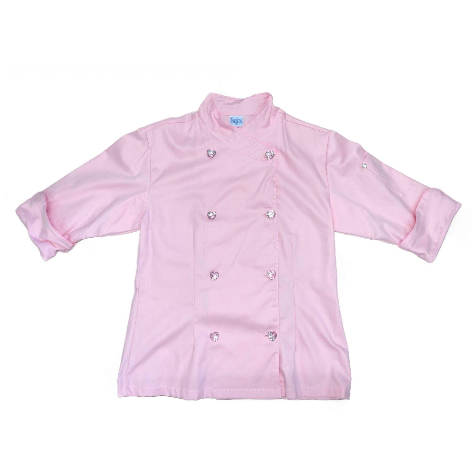 Dólmã Cecília Feminino Acinturado ROSA CLARO  com VIVO ROSA Sarja Leve 100% algodão  com  botões PINK HEART