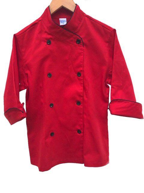 Dólmã Cecília Feminino Acinturado Vermelho com vivo e botões PRETOS Sarja Leve 100% algodão