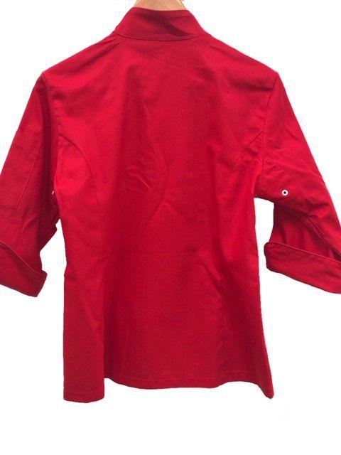 Dólmã Cecília Feminino Acinturado Vermelho com vivo e botões VERMELHOS Sarja Leve 100% algodão