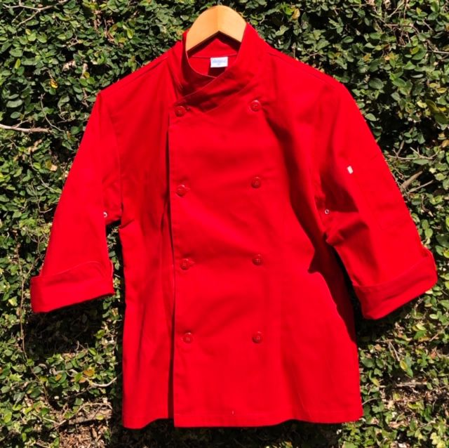 Dólmã Cecília Feminino Acinturado Vermelho Kitchen BRANCO  com vivo e botões VERMELHOS Sarja Leve 100% algodão