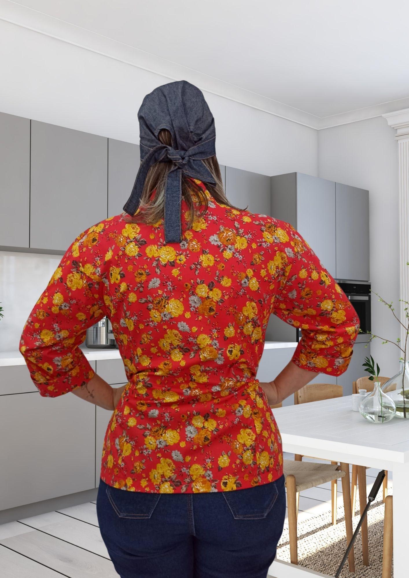 Dólmã Cecília Floral fundo laranja abotoamento pressão 100% Algodão Manga 3/4