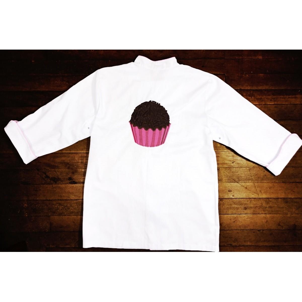 Dólmã Clássico Unissex BRANCO BRIGADEIRO com vivo ROSA e botões ROSA 100% algodão manga 3/4
