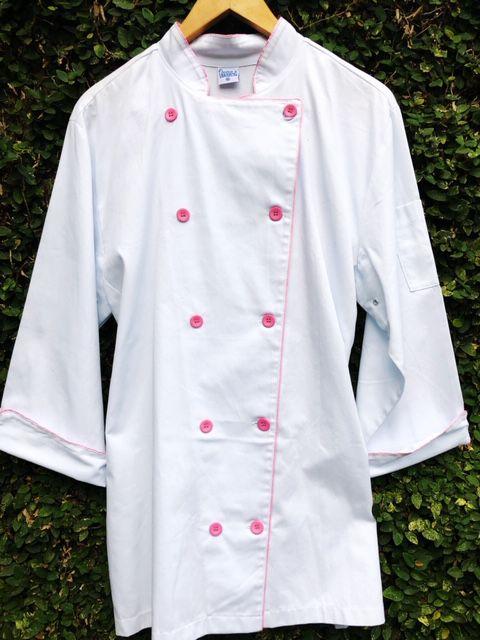 Dólmã Clássico Unissex BRANCO com vivo ROSA e botões ROSA - 100% algodão manga 3/4