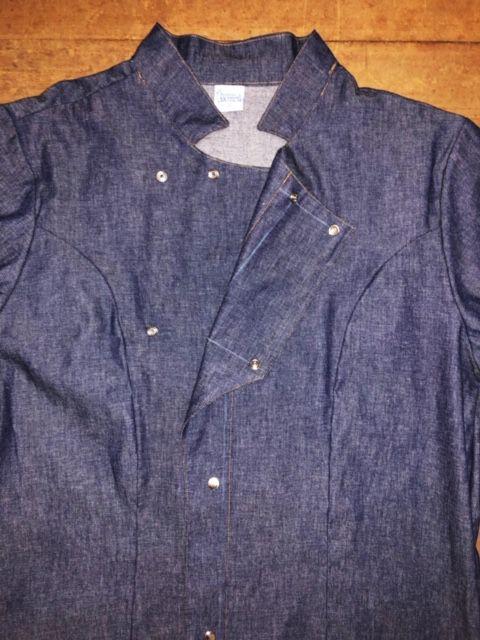 Dólmã George UNISEX  Jeans Bordado Hat&Knife Marron (Abotoamento Pressão)- Sarja 100% algodão