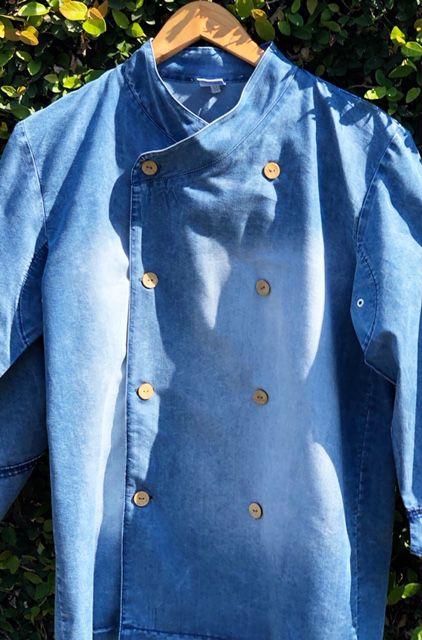 Dólmã Gourmet Unisex  Jeans Estonado Botões de Coco Lado Avesso
