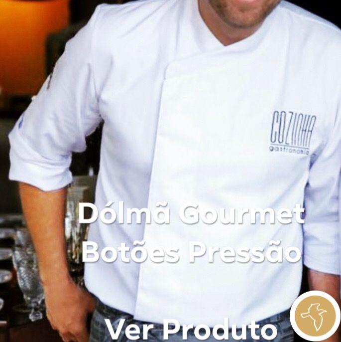 Dólmã Gourmet Unissex Branco Botões Pressão 100% Algodão  Manga 3/4