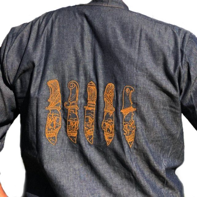 Dólmã Gourmet Unissex  Jeans JOGO DE FACAS MARROM 100% Algodão