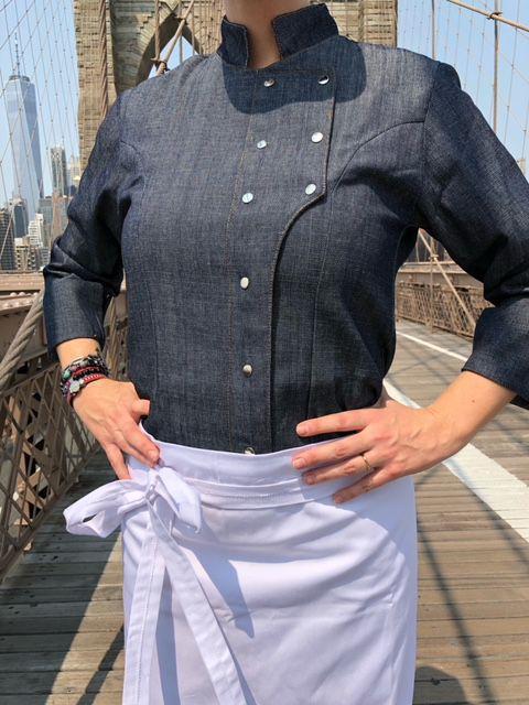 Dólmã Grace Feminina Jeans JOGO DE FACAS BRANCO (Abotoamento Pressão)- Sarja 100% algodão