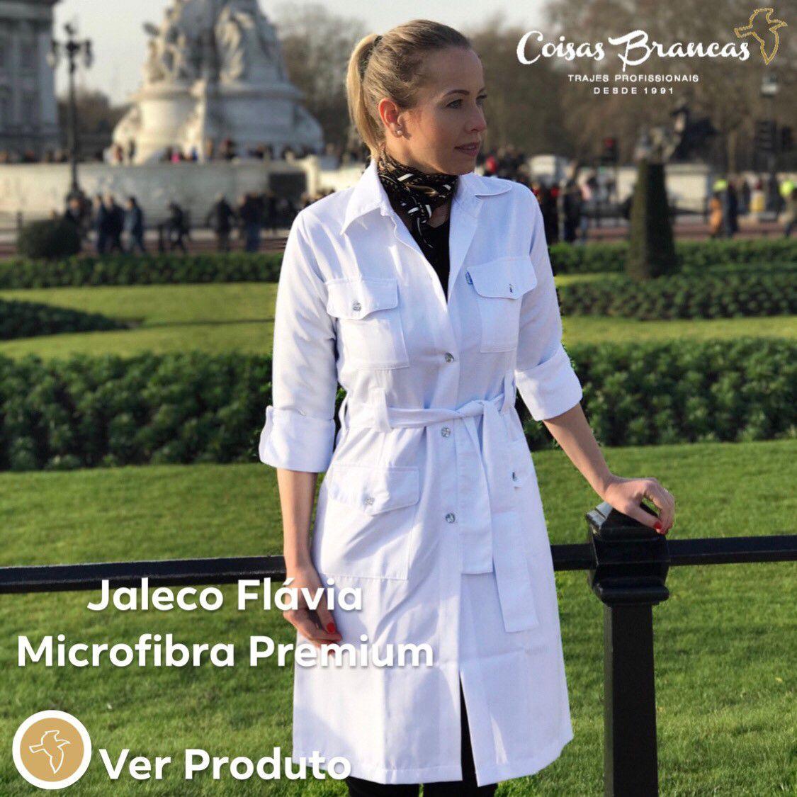 Jaleco Flávia Feminino  Swarovski  Manga ¾ Microfibra PREMIUM detalhes Cetim