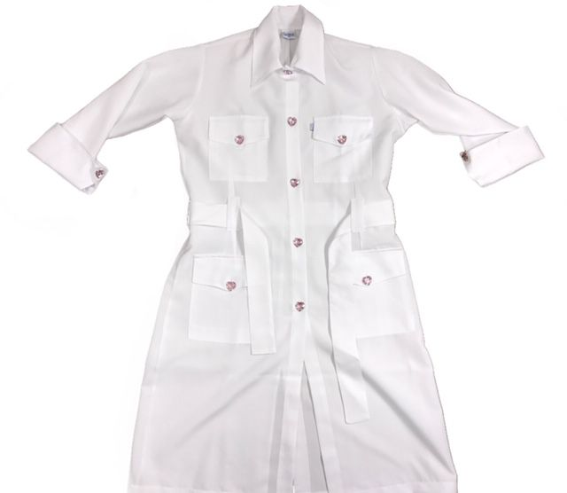 Jaleco Flávia SWEET PINK HEART  Feminino Trench Coat Manga ¾ MICROFIBRA PREMIUM 100% Poliéster