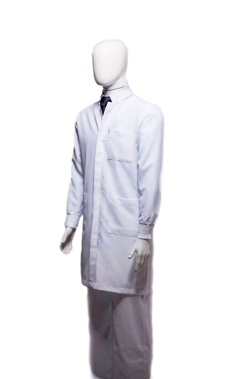 Jaleco  gola padre VERDE 90 padrão UFSC PROFESSOR (logomarca na manga , símbolo Odonto na manga e nome na lapela em verde escuro), com punho de camisa
