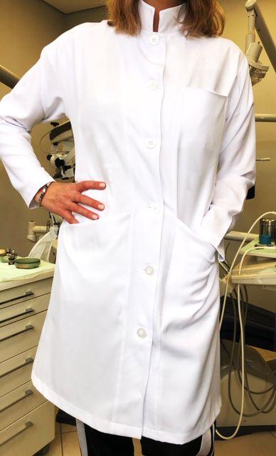 Jaleco Mulher Feminino Gola Padre Botões Transparentes Acinturado Microfibra PREMIUM