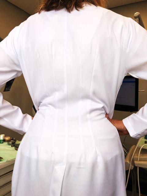 Jaleco Mulher Feminino Gola Padre Botões GREY HEART Acinturado Microfibra PREMIUM