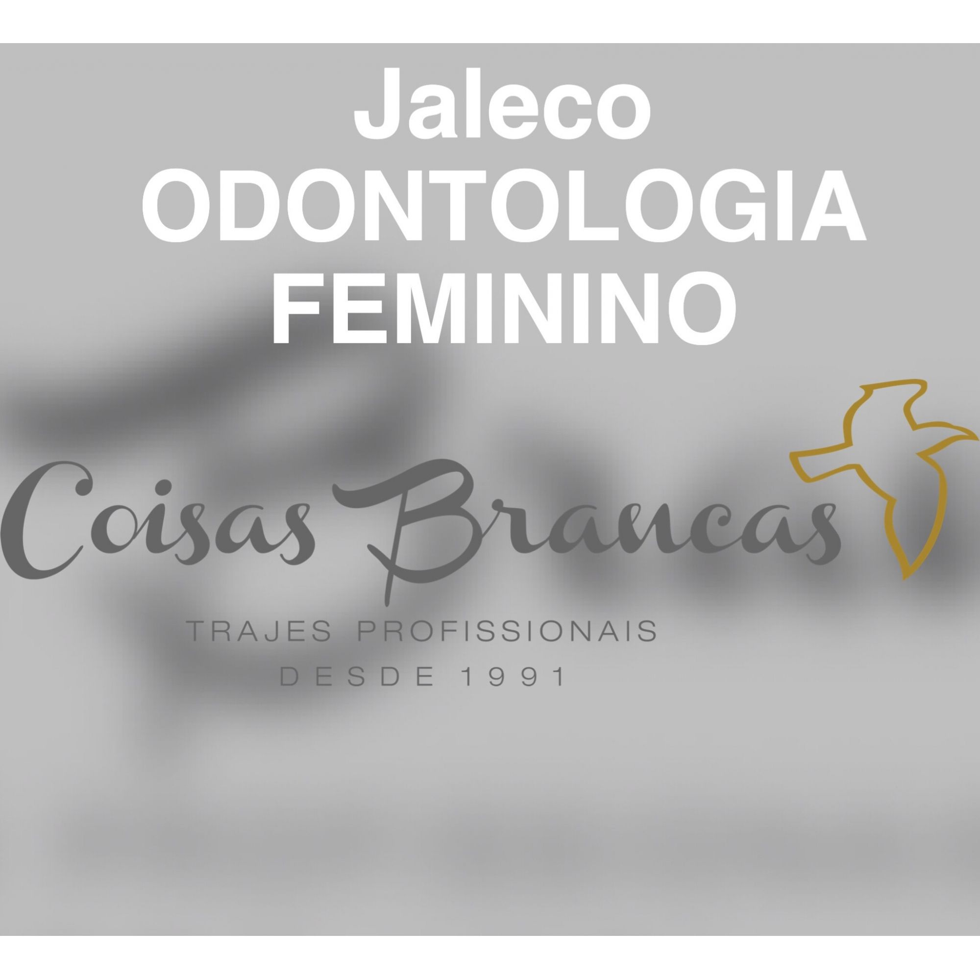 Jaleco Odontologia FEMININO em Gabardine 100% poliéster branco com punho de ribana