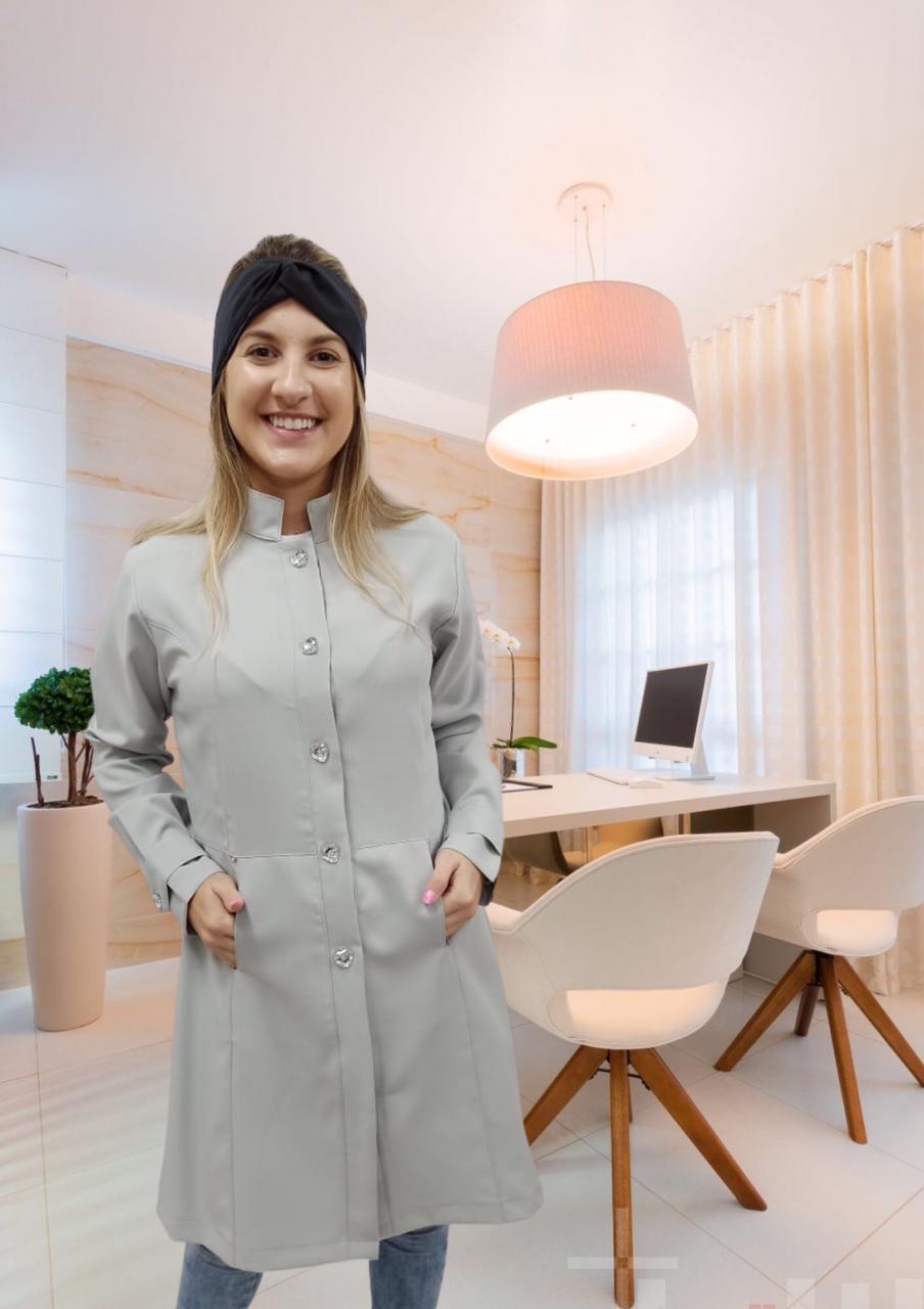 Jaleco Sissi cinza em oxford 100% poliéster