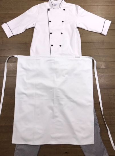 Conjunto: Dólmã 100% algodão BRANCA COM nome e logomarca UNIASSELVI bordada + Avental 1Frente branco 100% Algodão + Calça com elástico total pied poule +01TOK desc