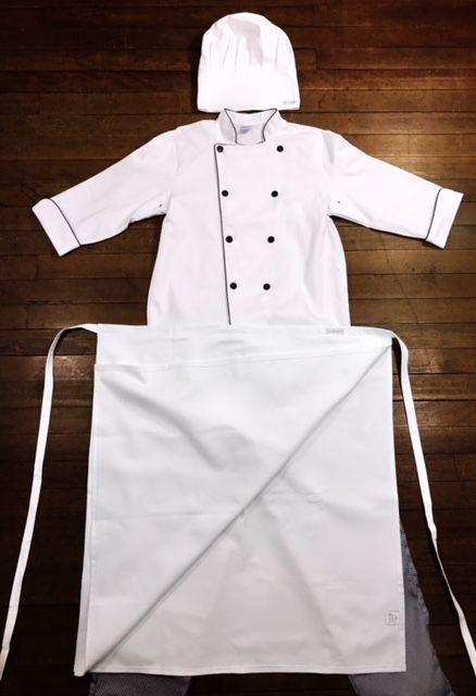 Conjunto Dólmã 100% algodão branca bordada + avental 4 Frentes branco 100% algodão + Calça com elástico total pied poule + chapéu gourmet