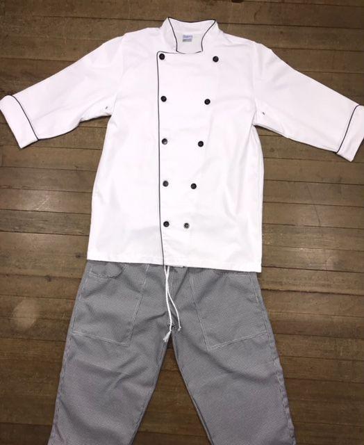 Conjunto Dólmã Classica 100% algodão BRANCA  bordada + Avental 4 Frentes PRETO 100% Algodão + Calça com elástico total pied poule