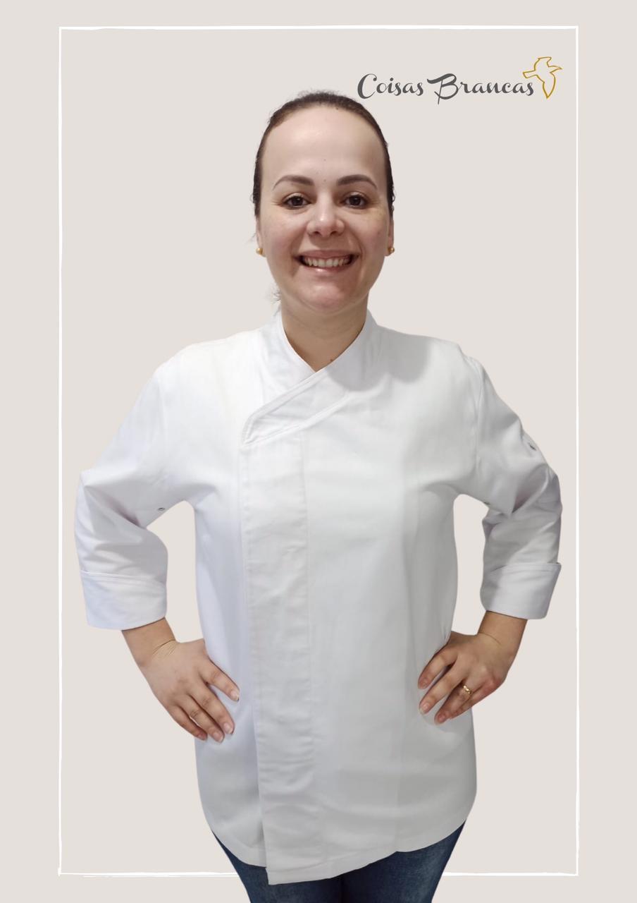 Kit exclusivo Professor Uniasselvi 2 Dólmãs Gourmet Unissex Branco Botões Pressão 100% Algodão  Manga 3/4 + 2 tok descartável