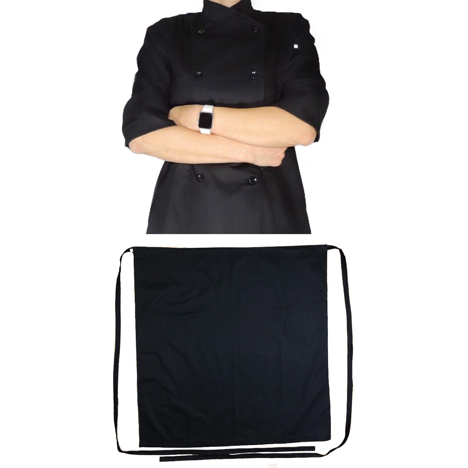 KIT PROMOCIONAL  Dólmã Cecilia Feminina Acinturado PRETA com VIVO PRETO e botões PRETOS Sarja Leve 100% algodão + Avental 1 Frente PRETO