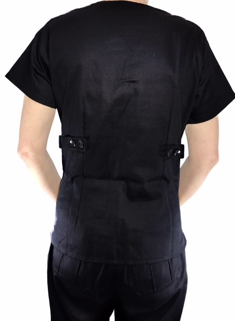 Conjunto Scrub Anatomys Feminino PRETO Camisa com ajuste para acinturar Atras e Cordão Pink para Calça Tecido 100% Algodão