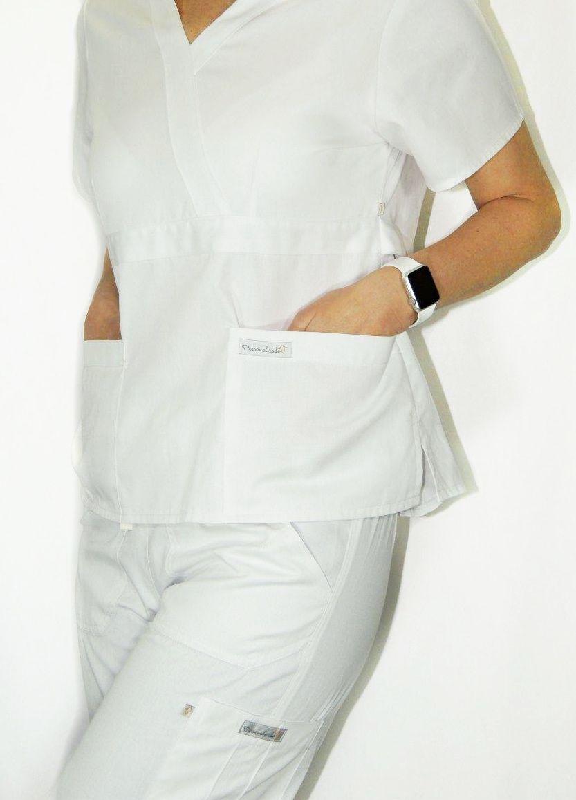 Conjunto Scrub Anatomys UNISEX  Camisa com ajuste para acinturar atrás e calça Com Elástico e Cordão BRANCO 100% Algodão