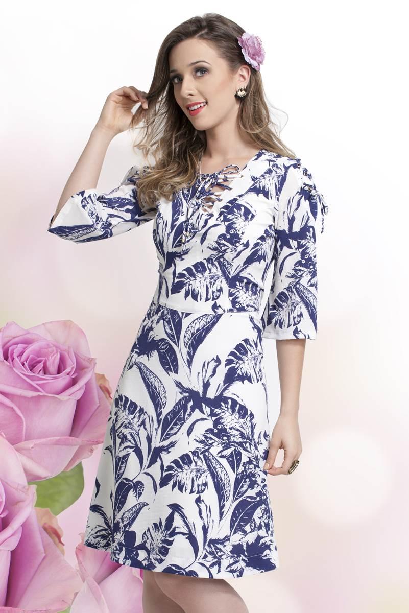 Vestido Bella Herança Folhas 6715