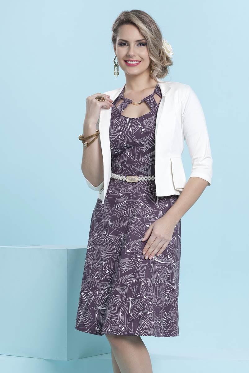 Vestido Bella Herança Lilac 6945